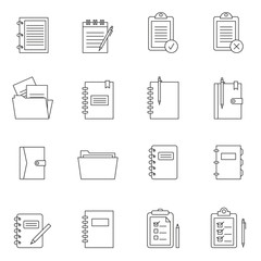 Outline document notes icon set isolated on white background