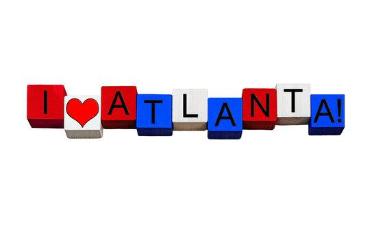 I Love Atlanta, sign for Georgia, America, travel. Isolated.
