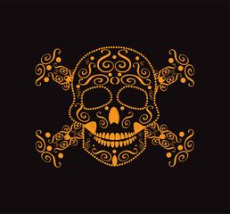 Skull and crossbones orange color neon