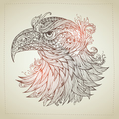 Hand drawn Ornamental Tattoo Eagle Head. Highly Detailed Abstract Isolated.