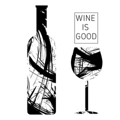 Wine tasting card in black outlines, with a bottle and a glass over a white background. Digital vector image.