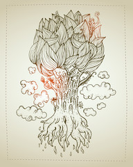 Hand drawn Ornamental Tattoo Plant. Highly Detailed Abstract Isolated.