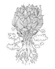 Hand drawn Ornamental Tattoo Plant Highly Detailed Abstract Isolated.