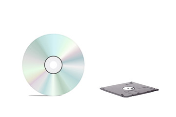floppy disk and cd