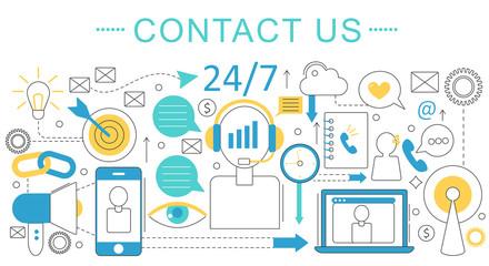 Vector elegant thin line flat modern Art design Contact us support concept. Website header banner elements layout. Presentation, flyer and poster.