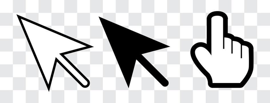 arrow and hand cursor
