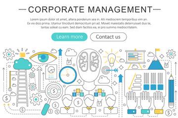 Vector elegant thin line flat modern Corporate business managment concept. Website header banner elements layout. Presentation, flyer and poster.