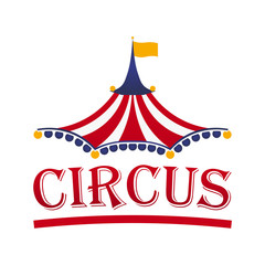 Circus tent logo template. Vector illustration.