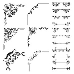 Floral corner and divider collection. Decorative element set