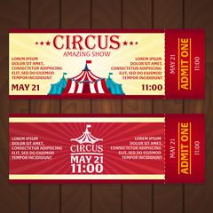 Circus Tickets Set. Amazing Show. Vector illustration