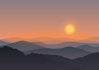 Cartoon mountain landscape in sunset. Background Outdoor Recreation concept illustration.