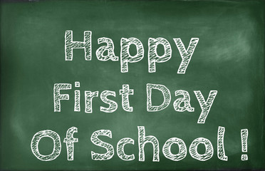 Happy First Day Of School Quotes Written On A Chalkboard Stock