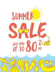 Summer Sale heading fun and cute hand draw style illustration de