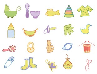 Hand drawn baby icons