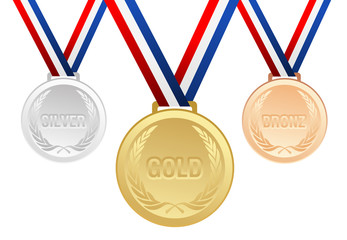 Set of gold, silver and bronze medals with ribbons