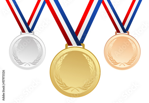 Set of gold, silver and bronze blank award medals with ribbons