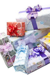 Colorful gifts box isolated