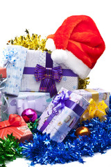 Gift boxes and christmas hat