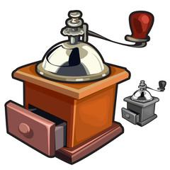 Vintage wooden manual coffee grinder handy