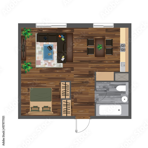 Architectural color floor plan studio apartment vector for Studio 52 table view