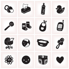 Black and white vector illustration set with sketchy baby square icons.