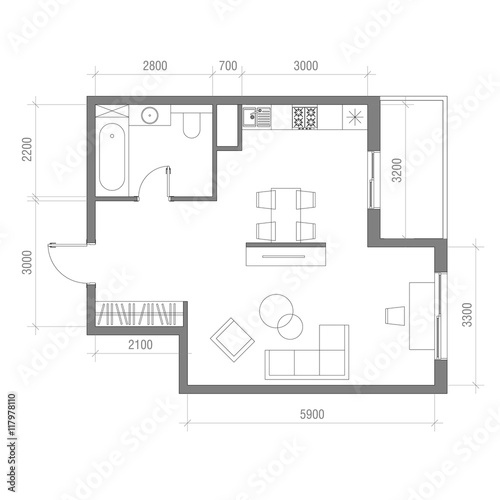 "Kitchen Floor Plans With Dimensions 8 X 12 Yptzautc: ""Architectural Floor Plan With Dimensions. Studio"