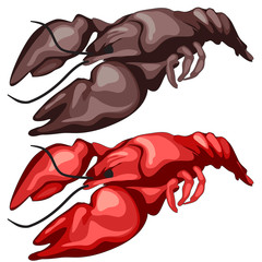 Two delicious fried crawfish, vector isolated