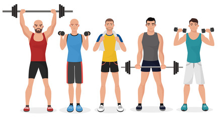 Fitness men male in gym set. Healthy lifestyle guys make exercises and gymnastics with barbells and dumbbells.