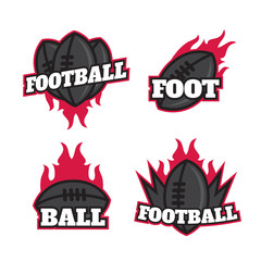 Set of colorful college american football logo labels