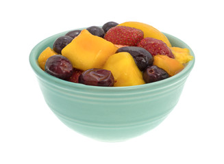 Mixed fruit in a bowl on a white background.