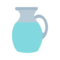 Pitcher and glass of milk icon in flat style on a white background