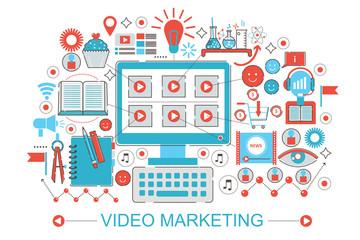 Modern Flat thin Line design digital video marketing online advertisment concept for web banner website, presentation, flyer and poster.