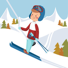 Man goes on skis. Vector illustration.