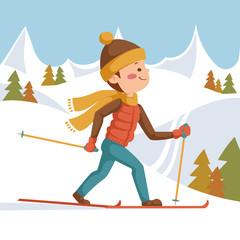 Athlete on a ski run. Illustration in cartoon style.