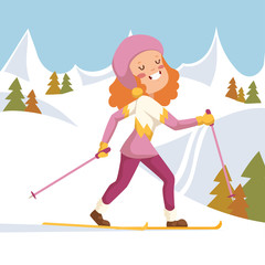She happily run on skis.
