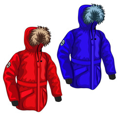 Warm down jacket for winter in different colors