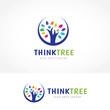 Detaily fotografie Think Tree Logo, People tree logo template.