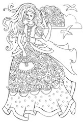 Black and white illustration of beautiful princess for coloring. Developing children skills for drawing. Vector image.