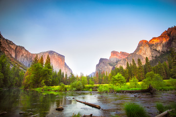 Iconic Valley View, also known as Gates to the Valley, at Yosemite National Park in California with El Captain and the Merced River in view.