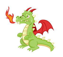 Angry cartoon green dragon. Vector clip art illustration with simple gradients. All in a single layer.