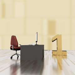 Office with number one, 3d illustration