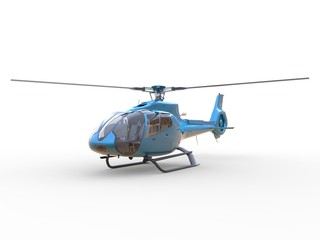Blue civilian helicopter on a white uniform background. 3d illustration