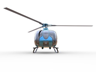 Blue civilian helicopter on a white uniform background. 3d illustration