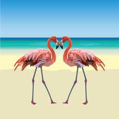 Two flamingo birds forming a shape of a heart. Tropic Exotic Beach background. Summer Vector Travel card