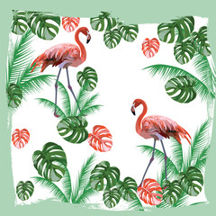 Flamingo birds and palm leaves Vector card. Tropic Exotic background