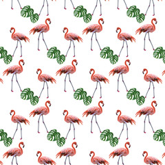Flamingo birds and palm leaves pattern Vector. Tropic Exotic background