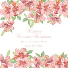 Vintage Spring Summer delicate Flowers card Vector