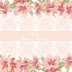 Vintage Spring Summer delicate Lace and Flowers card Vector