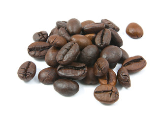 coffee beans in closeup isolated