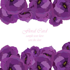 Spring Summer floral greeting card Vector. Invitation note for wedding, birthday or other holiday. Summer purple flowers background